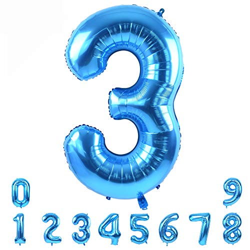 40 Inch Blue Large Numbers Balloon 0-9(Zero-Nine) Birthday Party Decorations,Foil Mylar Big Number Balloon Digital 3 for Birthday Party,Wedding, Bridal Shower Engagement Photo Shoot, Anniversary