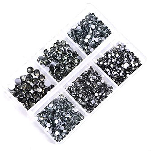 Decoración de uñas 1 caja de embalaje Color Clavo Rhinestone Fondo plano Multi-Tamaño de tamaño Multi-Tamaño Arte de uñas Decoración 3D Retocar manicura (Color : Black diamond)