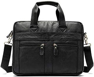 FYXKGLan Men's Genuine Leather Business Bag Leisure Male Shoulder Messenger Bag Layer Cowhide Handbag Men's Briefcase (Color : Black)