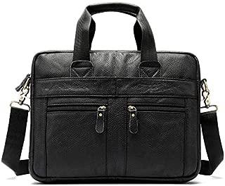 Men's Genuine Leather Business Bag Leisure Male Shoulder Messenger Bag Layer Cowhide Handbag Men's Briefcase (Color : Black)