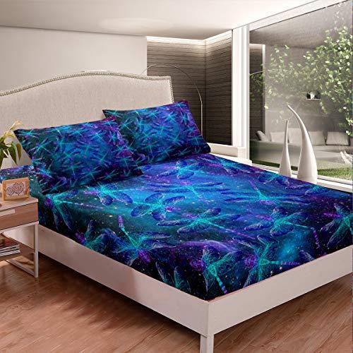 Juego de sábanas con diseño de libélula, diseño de libélula, para niños, niñas, insectos voladores, juego de ropa de cama, 2 unidades, tamaño individual