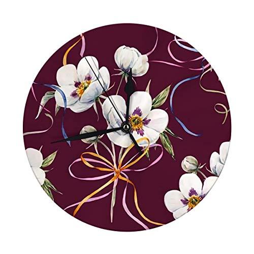 FETEAM Reloj de Pared Decorativo Reloj Redondo Digital Floral Acuarela Grande de 9,8 Pulgadas