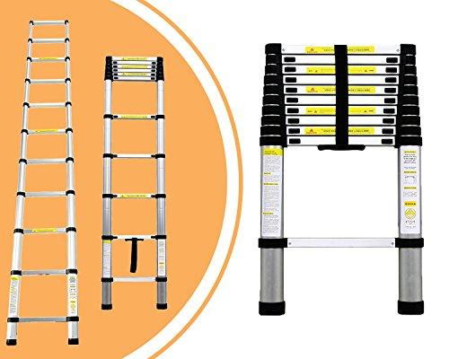 Leogreen - Escalera Telescópica, Escalera Extensible, 3,2 Metro(s), EN 131, Carga máxima: 150 kg, Distancia entre los peldaños (escalera desplegada): 30 cm
