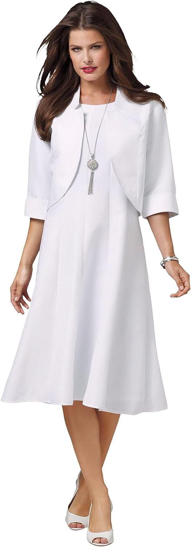 Roamans Women's Plus Size Fit-and-Flare Jacket Dress Suit