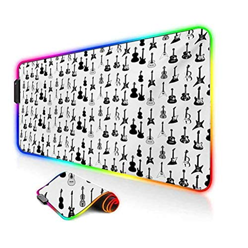 RGB Gaming Mouse Pad,Monochrome Strings Various Types Acoustic and Electronic Guitar Cello Violin Soft Computer Keyboard Mouse Pad,35.6