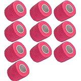Mintice 10 X vendaje autoadhesivo vendajes cohesivos fuerte elástico cinta de primeros auxilios color de rosado para muñeca tobillo deporte Los 4.5mx5cm