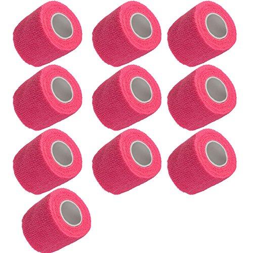 Mintice 10 Stück Rosa Selbsthaftende Bandagen Fingerpflaster Fingerverband Wundverband selbstklebend wasserfest 4.5mx5cm