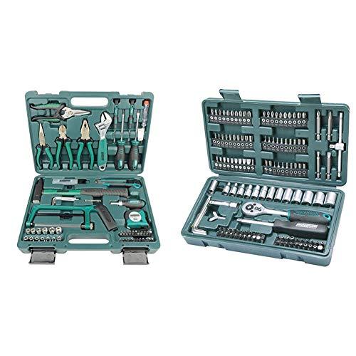 Mannesmann Werkzeuge 74piezas Juego de herramientas, 1pieza, m29074 + M29166 Maletín con juego de llaves de vaso y puntas de destornillador (130 piezas)