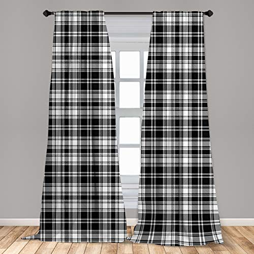 Ambesonne Abstract Curtains 2 Panel Set, British Tartan Celtic Pattern with Vertical Horizontal Symmetric Stripes Image, Lightweight Window Treatment Living Room Bedroom Decor, 56' x 84', White Black