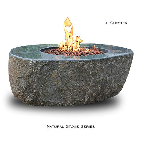 Find Bargain Elementi Fire Table Outdoor Round Fire Pit in Natural Stone Granite Rock, Patio Firepla...