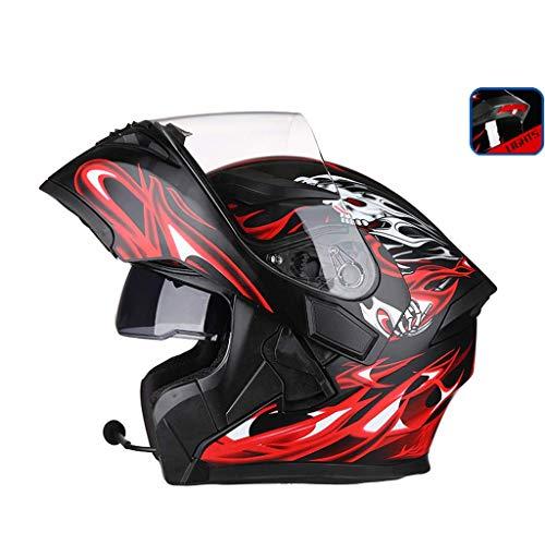 OUTO Découverte de Casque Moto LED feu arrière Avertissement Rouge Casque Bluetooth HD Anti-buée Miroir Casque intégral Cool personnalité (Couleur : Black Red Devil, Taille : M)