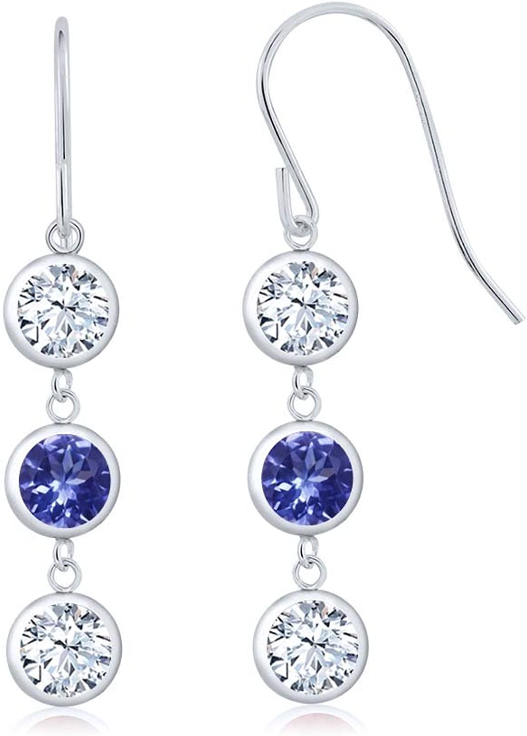 2.92 Ct Round White Topaz bluee Tanzanite AAAA 925 Sterling Silver Three Stone Dangle Earrings