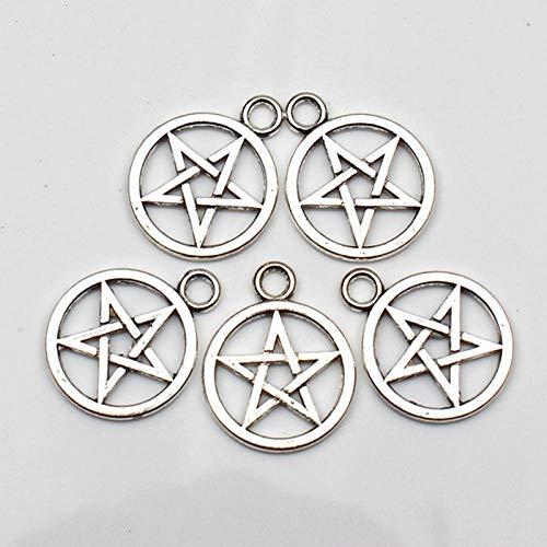 WANM 8Pcs Charms Star Pentagram 20Mm Antique Tibetan Silver Pendant Finding Accessories Diy Vintage Choker Necklace Handmade Alloy Pendant