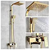 Robinets de baignoire De luxe en laiton doré robinet de salle de bains mitigeur Robinet de douche mural à main fixé au mur...