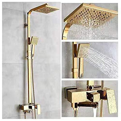 Alcachofa de bañera de lujo Latón dorado grifo de baño sola manija montado en la pared ducha de mano grifo montado en la pared conjunto de Alcachofa de ducha cromo pulido