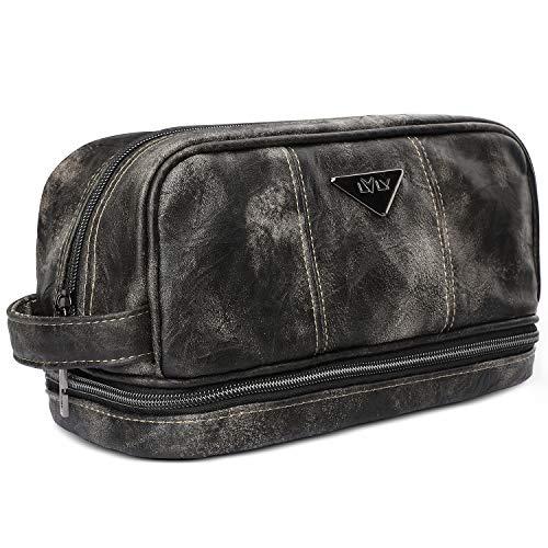 LVLY Dopp Kit Leather Toiletry Bag for Men - Travel Bags for Shaving Grooming and Bathroom...