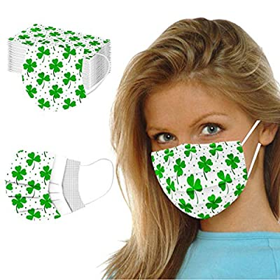 10/20/50PCS 3 Ply St Saint Patricks Day Disposable_Face_Mask Adult Anti Dust Protection Bandana for Indoor Outdoor by PAPIYON
