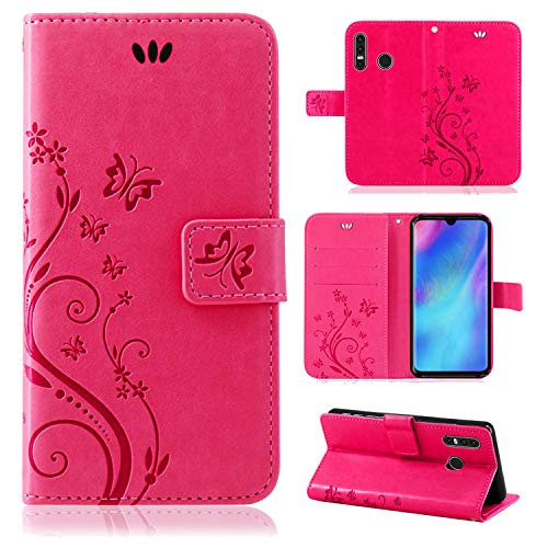 betterfon   Huawei P30 Lite Hülle Handy Tasche Handyhülle Etui Wallet Hülle Schutzhülle mit Magnetverschluss/Kartenfächer für Huawei P30 Lite Blume Pink
