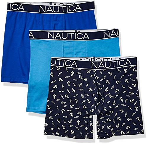 Nautica Men's 3-Pack Classic Underwear Cotton Stretch Boxer Brief, aero Blue/Sea Cobalt/Anchor Printpeacoat, Large