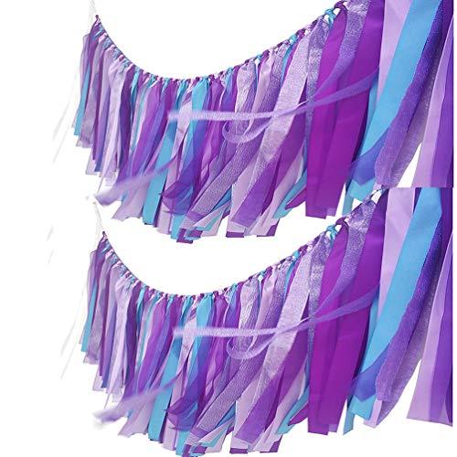 AZOWA Assembled Purple Blue Tassel Garland 2 Pack (40 in (L) X 14 in (H), Mermaid)