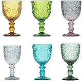 Pagano Home - 6 copas de cristal para agua/vino de colores surtidos, multicolor, capacidad 300 ml (rojo, transparente, lila, verde, naranja celeste)