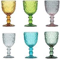 pagano home 6 bicchieri a calici in vetro per acqua/vino colori assortiti multicolore capacità 300 ml pcorinto (rosso trasparente lilla verde arancio celeste)