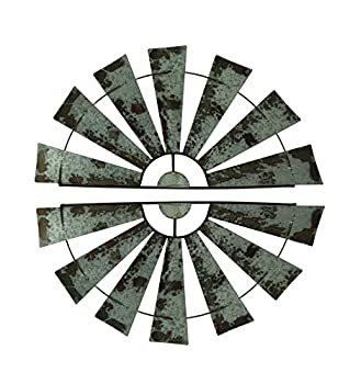 Special T Imports Pair of 36 Inch Galvanized Metal Half-Windmill Wall Sculptures Large Rustic Home Decor Country Farmhouse Art Decorations
