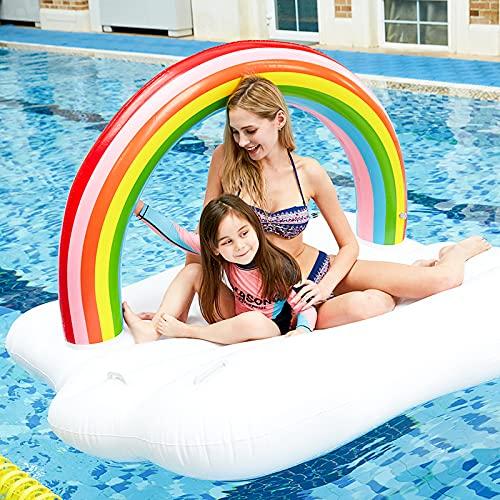 Zwirelz Aufblasbares Schwimmbett, Aufblasbare Regenbogen-Wassermatratze, Sommerschwimmbeckenspielzeug, Wasserhängematte, Sommerschwimmbett, Schwimmendes Partyspielzeug für Erwachsene und Kinder