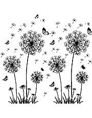 solawill Diente de León Pegatinas Pared, pegatinas adhesivas Pared vinilo decorativo Flores 3d mariposas Plantas murales para Salón Cocina Habitación de los Niños perchero Piso Ventana decorativa
