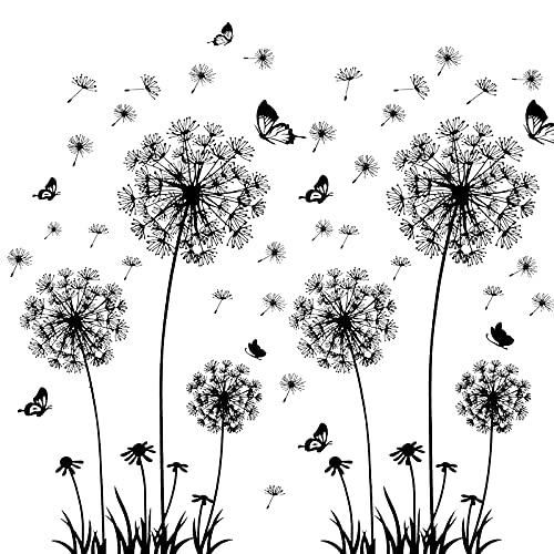 solawill Wandtattoo, Pusteblume Schmetterling Wandsticker, 2 Stück Löwenzahn Wandaufkleber,Pflanzen zum Kleben Blumen Pflanzenmotiv Sticker Natur Wanddeko Wandsticker für Wohnzimmer Schlafzimmer Flur