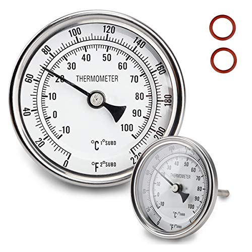 """Dial Thermometer 1/2 NPT Thread Pot Thermometer 304 SS Kettle Thermometer with Mounting Assembly for Brewing Beer (3"""" Face)"""