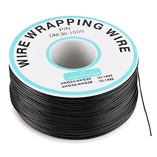 30AWG 0.25mm Cable de Prueba de Aislamiento Hilo Conductor Cable Embalaje de Cobre Estañado Negro 250 metros
