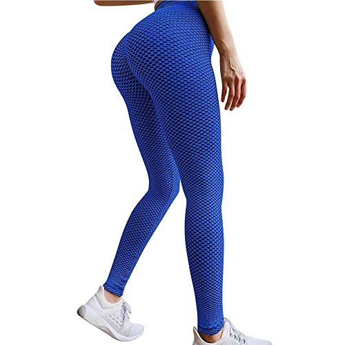 quming Pantalones Yoga SúPer EláSticos Cintura,Leggings Push Up de Yoga de Cintura Alta, Pantalones de Gimnasio Stretch Female-Blue_XL