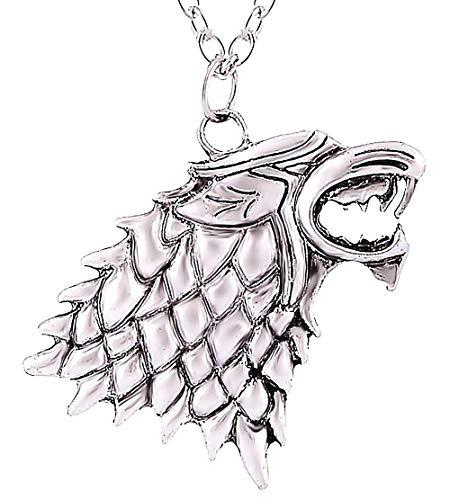 Legisdream Collar Trono de Espadas Familia metalupo Trono rígido de Espadas Jon Snow Unisex Game of Thrones Jon Snow Alta Stark