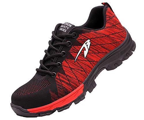 Zapatillas de Seguridad Hombre Zapatos de Mujer Antideslizante Transpirable Zapatos de Trabajo Calzado de Trabajo Ultra Liviano Suave y Cómodo Deportes Unisex, A Rojo, 43 EU