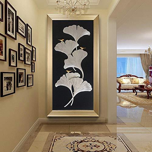 Hescn Diamond Painting Kit Completo Drill 5D DIY Decorazioni Natalizie Mosaici Diamante Ricamo Cristallo Artigianato Artistico for Home Wall Decor Ginkgo Biloba,70X140Cm