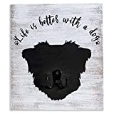 Dog Leash Holder for Wall - Decorative Dog Rustic Home Decor with Dog Leash Hooks for Wall, Wall Mount and Unique Hooks for Leash Or Keys - Cute Housewarming Birthday Gift for Pet Owners
