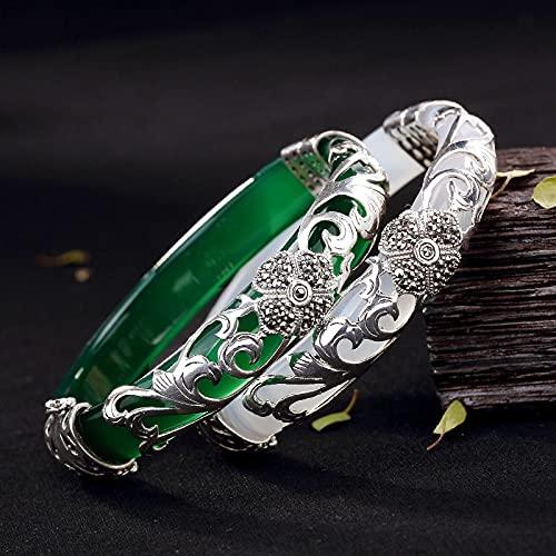 JIUXIAO S925 brazaletes Abiertos de calcedonia de Plata esterlina Verde Blanco Hecho a Mano de Plata tailandesa Pulsera de Jade Natural joyería Fina para Mujeres