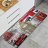 ZORMIEY Alfombras Cocina Lavable Antideslizante Alfombrilla de Goma Alfombra de Baño Alfombrillas Cocina 45x120cm,Londres, Inglaterra City Landmark Retro Union Teléfono Bus Big Ben Bandera