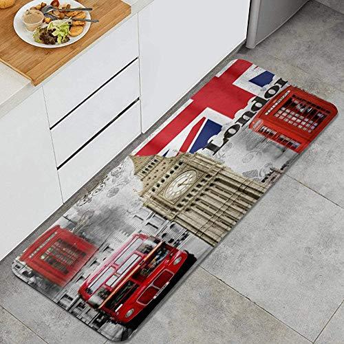 Anti Fatiga Cocina Alfombra del Piso,Londres, Inglaterra City Landmark Retro Union Teléfono Bus Big Ben bandera,Antideslizante Acolchado Puerta Habitación Bañera Alfombra Almohadilla,120 x 45cm