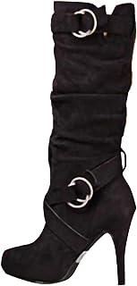 Minetom Mujer Botas Largas De Gamuza Casual Tacones Aguja Altos Zapatos Otoño Invierno Retro Botas Altas Calentar Moda