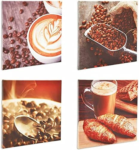 for Coffee Fort Worth Mall Max 78% OFF Canvas Wall Art Set Decor 12 x in Modern Kitchen