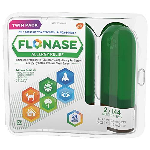 Flonase Allergy Relief Nasal Spray, Allergy Medicine 24 Hour Non-Drowsy, 288 sprays (pack of 2)