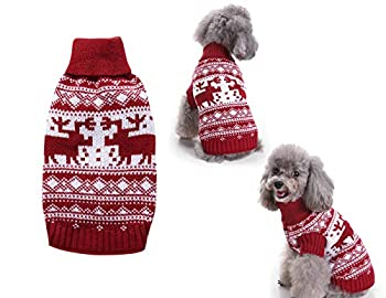 Tineer Pet Xmas Pull-Overs - Pull Chiot Sweater à Capuche Tricots Halloween Cartoon Chaud Manteau vêtements de Noël pour Petits Chiens Moyens Chats Lapins (S, Renne - Rouge)