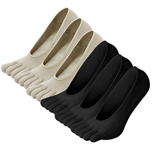 LOFIR Calcetines Cortos de 5 Dedos para Mujer Calcetines Invisibles con Dedos Separados, Calcetines Bajos Tobilleros de Algodón de Deporte para Chica, Talla 35-41, 6 pares