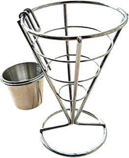BESTONZON 2PCS French Fry Stand Cone Basket French Fry Chips Cone Metal Wire Basket with Sauce Dippers for Home Parties / Backyard Picnics / Outdoor Events / Appetizers