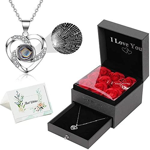 """TOOP - """"I Love You"""" confezione regalo con fiori di rosa e collana, disponibile in 100 lingue, idea regalo per San Valentino, compleanno, festa della mamma, anniversario"""