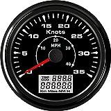 Velocímetro cuentakilómetros GPS velocidad, aceleración 0-35knots 85 mm Velocidad odómetros 0-40MPH Pantalla LCD TRIP/ODO DQO for Recipiente del barco (Color : BN, Size : Gratis)