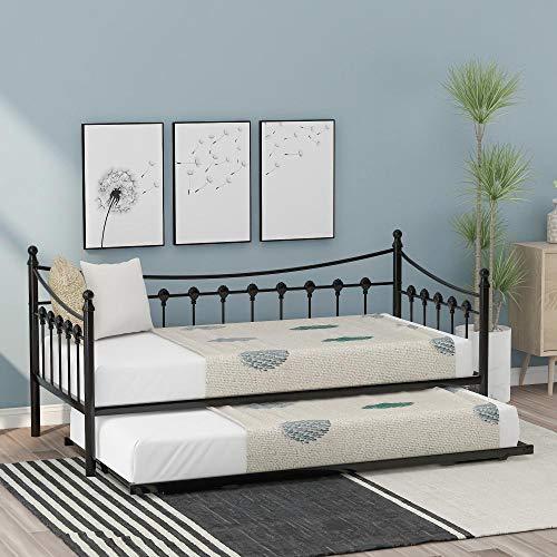 Cama de Invitados con sofá Cama de Metal de 3 pies con Nido para habitación de Invitados, Dormitorio de niños, sofá Cama sólido en Negro (190x90cm)