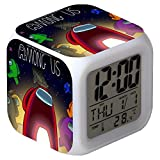 Among Us Alarm Clock, LED Night Glowing Cube LCD Clock, with Light Children Wake Up, Bedside Clock, Birthday Gifts, for Kids Bedroom